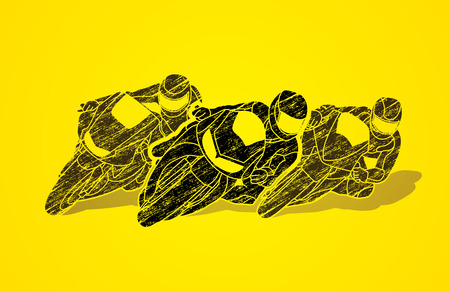 gp: Motorcycles racing designed using grunge brush graphic vector Illustration