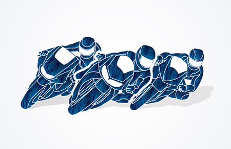 Motorcycles racing designed using blue grunge brush graphic vector