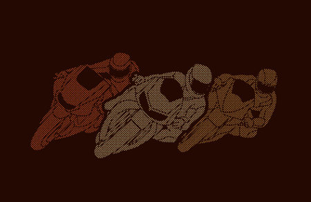 Motorcycles racing designed using dots pixels graphic vector Illustration