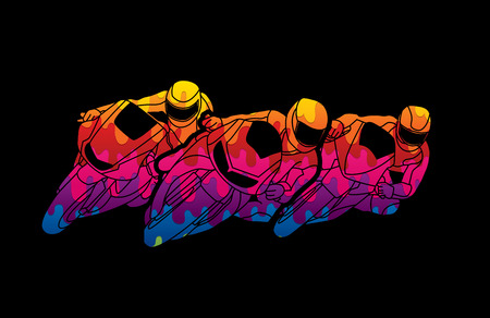 Motorcycles racing designed using melting colors graphic vector Illustration