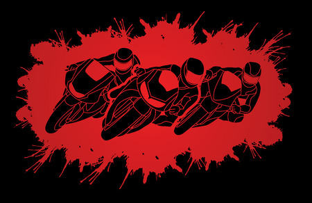 Motorcycles racing designed on splatter blood background  graphic vector
