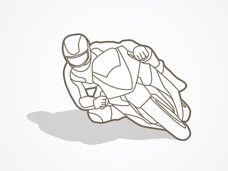Motorcycle racing outline graphic vector.