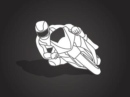 Motorcycle racing shadow graphic vector.