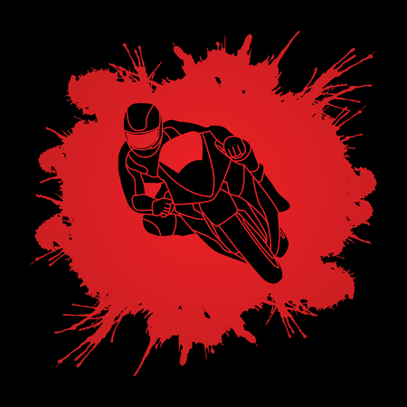 Motorcycle racing designed on splatter blood background graphic vector. Illustration