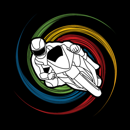 spin: Motorcycle racing designed on spin wheel background graphic vector. Illustration