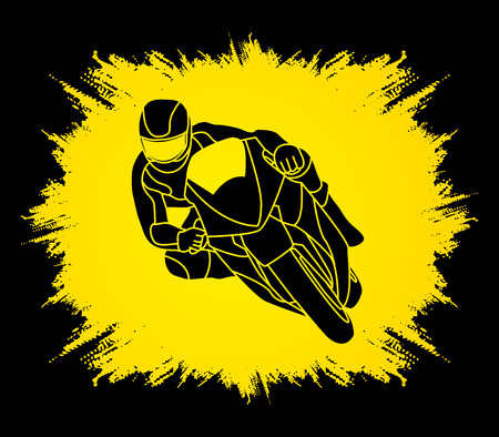 Motorcycle racing designed on grunge frame background graphic vector.