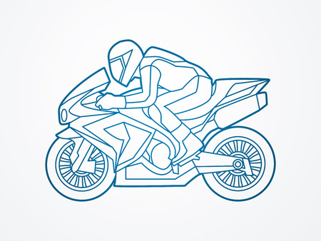 side view: Motorcycle racing side view outline graphic vector. Illustration