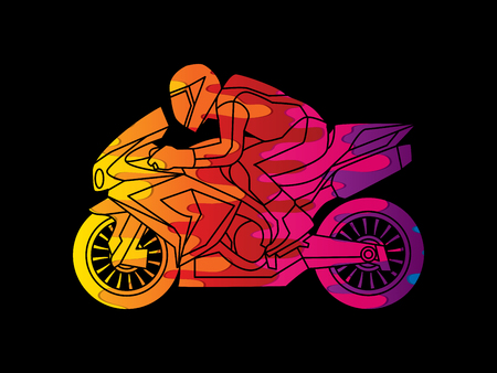 side view: Motorcycle racing side view designed using melting colors graphic vector. Illustration