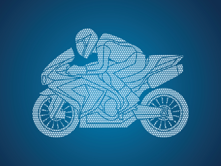Motorcycle racing side view designed using geometric pattern graphic vector.