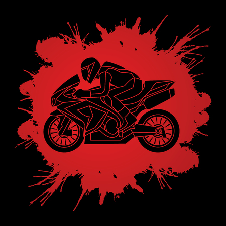 Motorcycle racing side view designed on splatter blood background graphic vector. Illustration