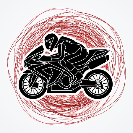 Motorcycle racing side view designed on grunge strokes background graphic vector.