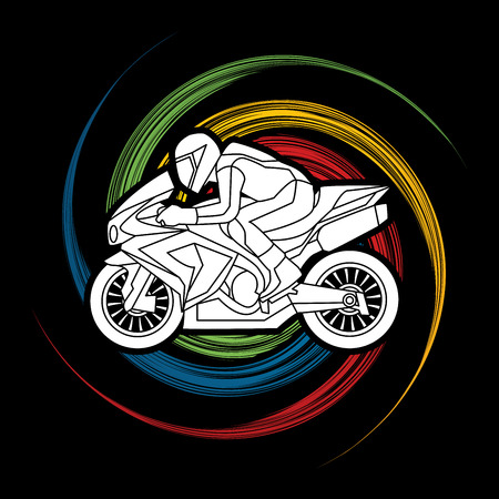 Motorcycle racing side view designed on spin wheel background graphic vector. Illustration