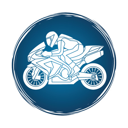 side view: Motorcycle racing side view designed on grunge circle background graphic vector.