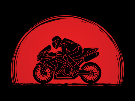 Motorcycle racing side view designed on sunset background graphic vector. Illustration