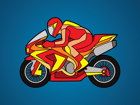 Motorcycle racing side view designed using red color  graphic vector. Illustration