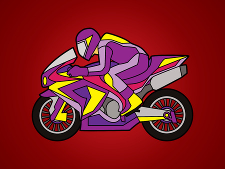 Motorcycle racing side view designed using purple color  graphic vector. Illustration