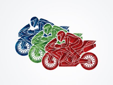 plug hat: 3 Motorcycles racing side view designed using colorful grunge brush graphic vector.