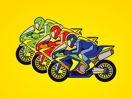 3 Motorcycles racing side view graphic vector.