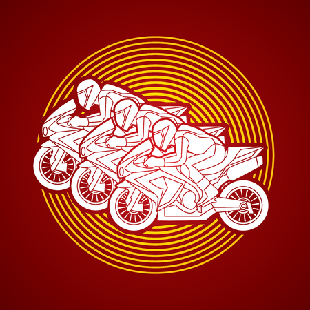 plug hat: 3 Motorcycles racing side view designed on circle light graphic vector.