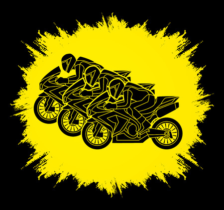 screen printing: 3 Motorcycles racing side view designed on grunge frame graphic vector.