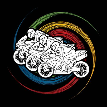 3 Motorcycles racing side view designed on spin wheel graphic vector.