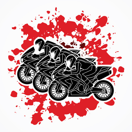plug hat: 3 Motorcycles racing side view designed on splatter blood graphic vector. Illustration