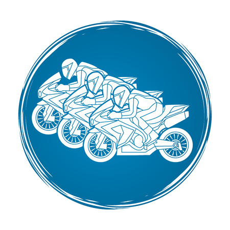plug hat: 3 Motorcycles racing side view designed on grunge circle graphic vector.
