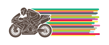Motorcycles racing side view with line colorful movement graphic vector.