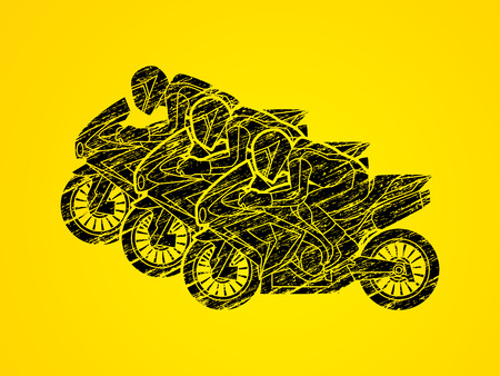 3 Motorcycles racing side view designed using black grunge brush graphic vector.