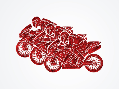 plug hat: 3 Motorcycles racing side view designed using red grunge brush graphic vector.