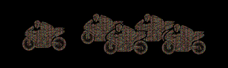 5 Motorcycles racing side view designed using colorful mosaic pattern graphic vector.