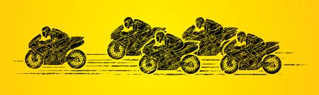 5 Motocicletas vista lateral de carreras diseñado usando cepillo del grunge de gráficos vectoriales.