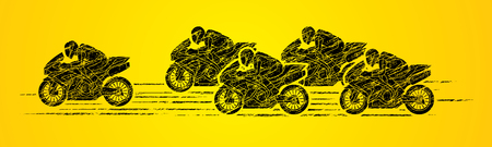 5 Motorcycles racing side view designed using grunge brush graphic vector.