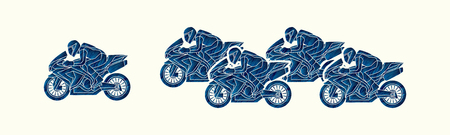 5 Motorcycles racing side view designed using blue grunge brush graphic vector.