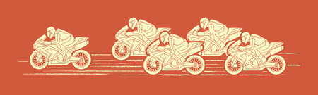 screen printing: 5 Motorcycles racing side view graphic vector.