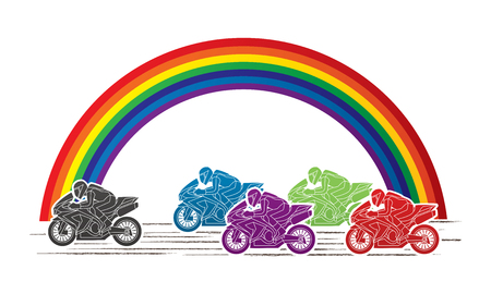 5 Motorcycles racing side view with rainbows graphic vector. Illustration