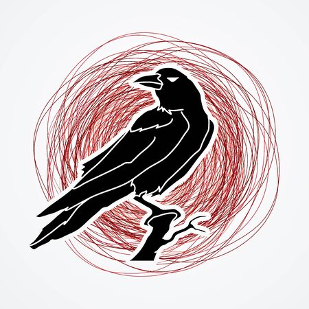 Crow designed on grunge stroke background graphic vector.