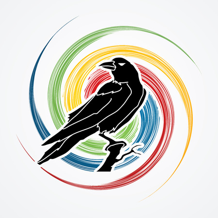 spin: Crow designed on spin wheel background graphic vector.