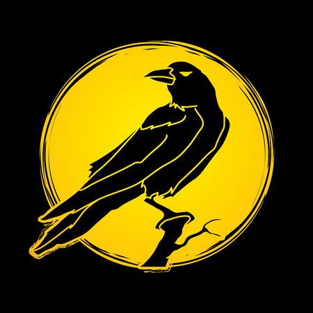cling: Crow designed on moonlight background graphic vector. Illustration