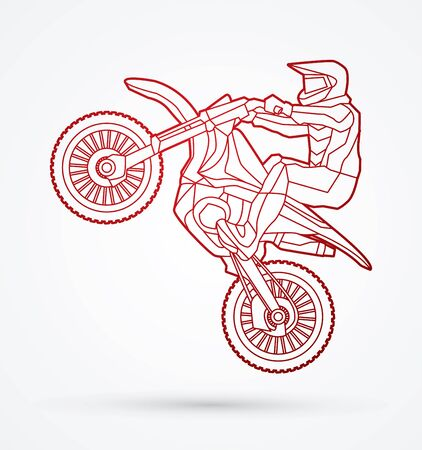 Motorcycle cross jumping outline graphic vector