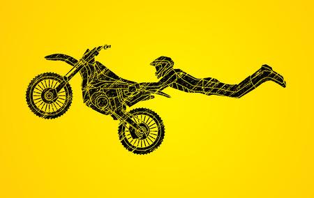 Freestyle Motocross flying trick designed using black grunge brush graphic vector