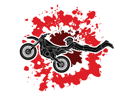 Freestyle Motocross flying trick designed on splatter blood background graphic vector
