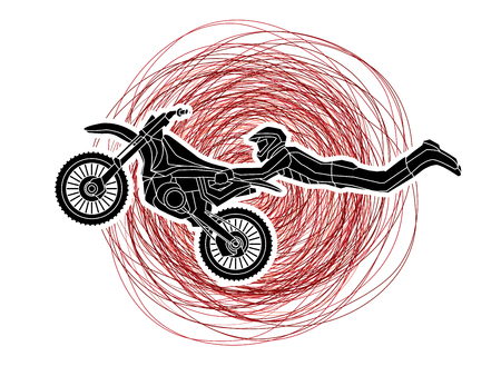 Freestyle Motocross flying trick designed on grunge stroke background graphic vector
