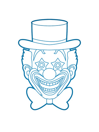 jugglery: Clown head, smile face outline graphic vector.