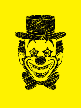 jugglery: Clown head, smile face designed using grunge brush graphic vector.
