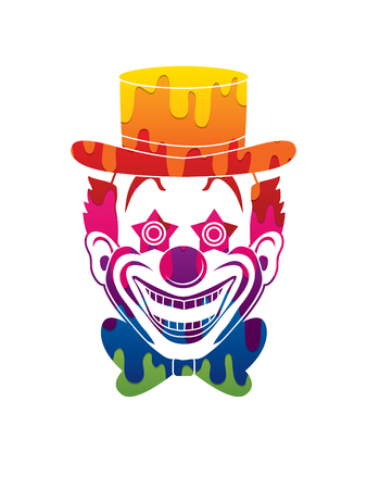 jugglery: Clown head, smile face designed using melting colors graphic vector. Illustration