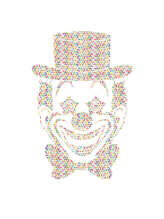 jugglery: Clown head, smile face designed using colorful mosaic pattern graphic vector. Illustration