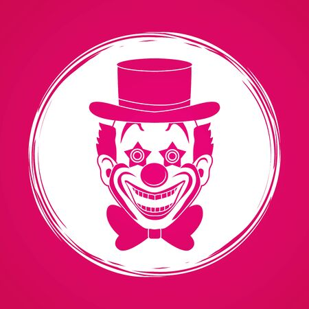 jugglery: Clown head, smile face designed on grunge circle background graphic vector.