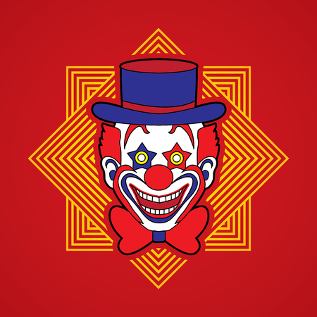jugglery: Clown head, smile face designed on line square background graphic vector.