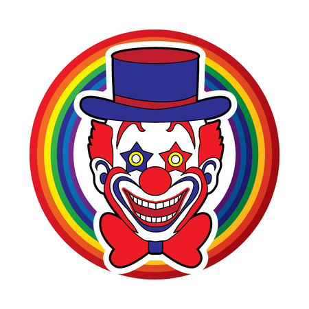 jugglery: Clown head, smile face designed on line rainbows background graphic vector.